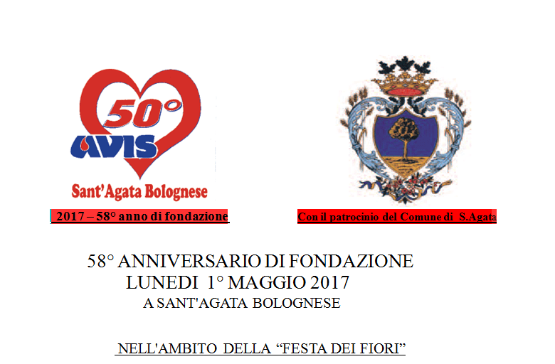 Festa per il 58° anniversario della fondazione dell'Avis di Sant'Agata Bolognese @ Piazza dei Martiri Sant'Agata Bolognese | Sant'Agata Bolognese | Emilia-Romagna | Italia