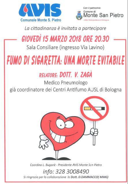 Fumo di sigaretta: una morte evitabile   Avis Monte San Pietro @ Sala Consiliare Monte San Pietro   Emilia-Romagna   Italia