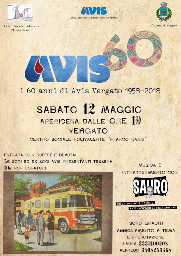 I 60 anni di Avis Vergato: apericena e musica @ Centro Sociale Polivalente Franco Nanni | Vergato | Italia