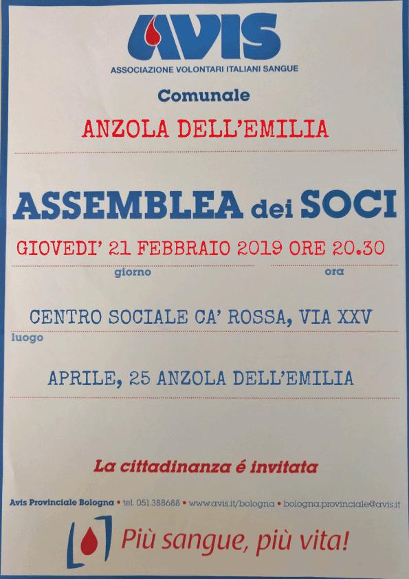 Assemblea 2019 Anzola dell'Emilia @ Centro Sociale Ca' Rossa