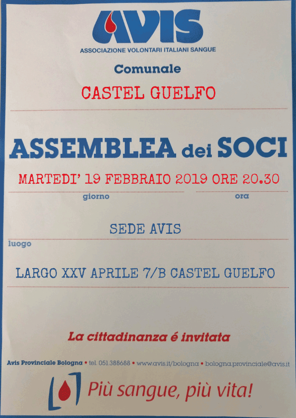 Assemblea 2019 Castel Guelfo @ Sede Avis