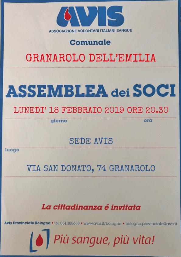 Assemblea 2019 Granarolo dell'Emilia @ Sede Avis