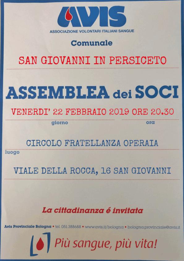 Assemblea 2019 San Giovanni in Persiceto @ Circolo Fratellanza Operaia