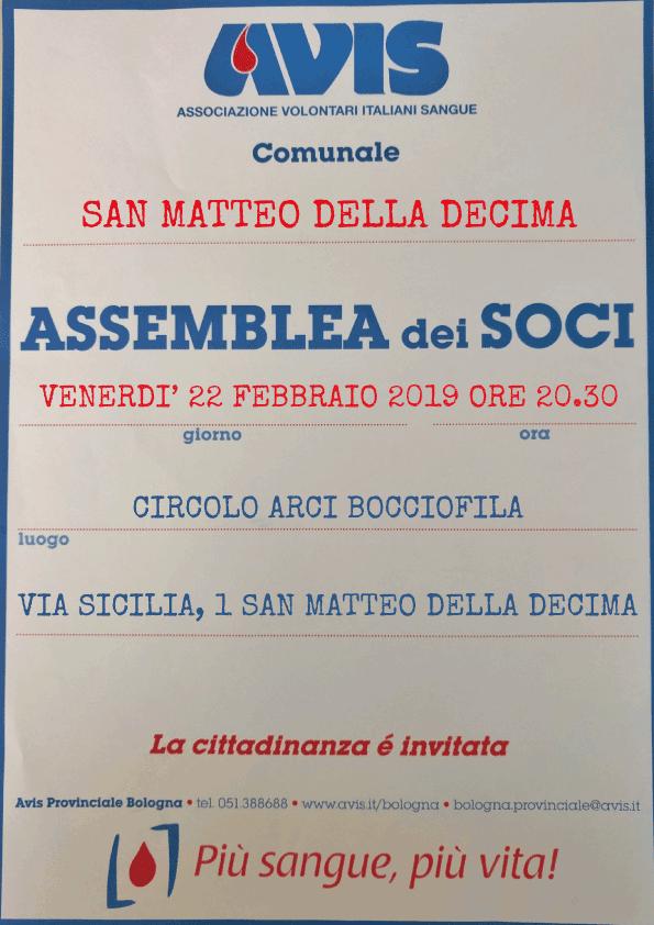 Assemblea 2019 San Matteo della Decima @ Circolo ARCI - Bocciofila