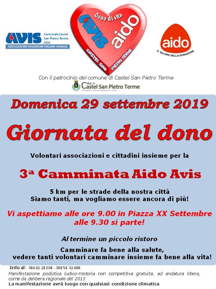 Camminata del dono Avis Castel San Pietro @ Piazza XX Settembre Castel San Pietro | Castel San Pietro Terme | Emilia-Romagna | Italia