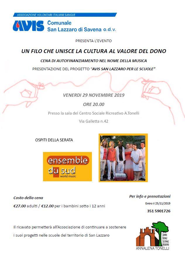 Cena per Avis San Lazzaro nelle scuole @ Centro Sociale Ricreativo A.Tonelli (Mura San Carlo) | Pulce | Emilia-Romagna | Italia