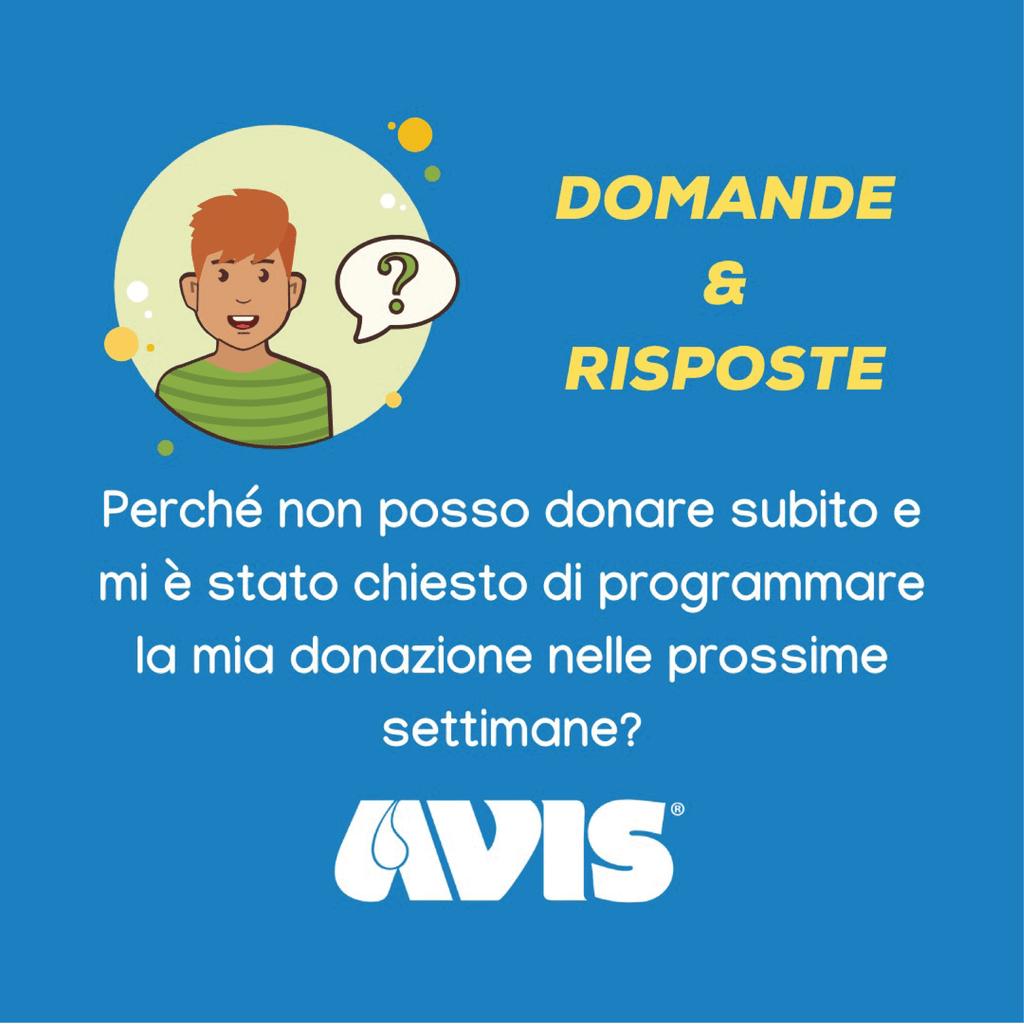 FAQ COVID AVIS PROGRAMMARE DONAZIONE
