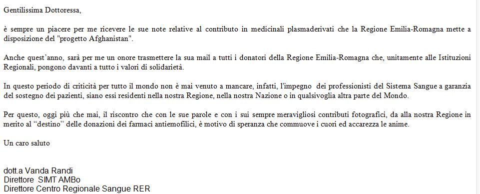 lettera emofilia kabul dr.ssa randi