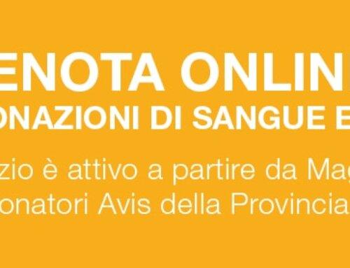 Prenotazioni online. Dal mese di maggio potrai prenotare via web le tue donazioni